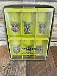 New Pier 1 Imports Wine Glass Drink Charms Set of 6 Beaded Owls