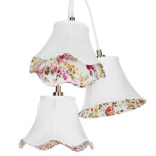 3 Light Lamp Shade Floral Cluster Hanging Ceiling Light Fitting Cream Litecraft