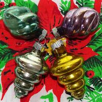 Vintage Shiny Brite Mercury Glass Ornament Lot of 4 Pastel ATOMIC Tornado Swirl