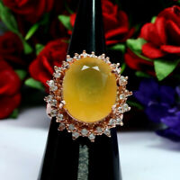 NATURAL 14 X 17 mm. YELLOW OPAL & WHITE ZIRCON CAMBODIA RING 925 STERLING SILVER