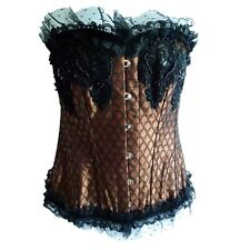 "Bronze Steampunk Gothic Corset by ""Busk"", Black Lace & Beading (WAS  £123)"