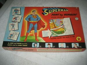 Vintage 1954 Superman Paint by Numbers Water Color Set by Transogram