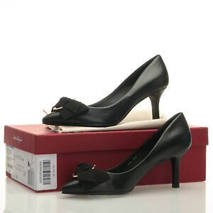 Salvatore Ferragamo Talla Bow Black Leather 70mm Heels - Size 5.5 B
