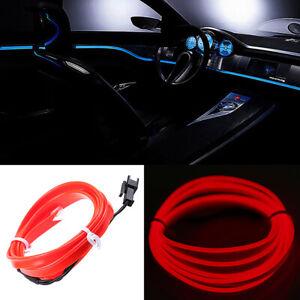 3M LED EL Wire Red Cold light Car Inside Decor Lamp Neon Strip Tape No Control