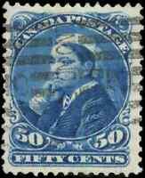 Canada #47 used VF 1893 Queen Victoria 50c deep blue Small Queen CV$100.00
