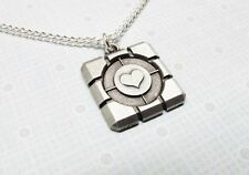 Pewter Cube Necklace, inspired by portal's companion cube gamer geek