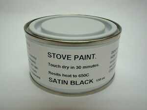 150ml Stove Paint Brush Satin Black Resists Heat 650C Wood Burner Grate Exhaust