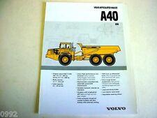 Volvo A40 Articulated Hauler 6x6 Truck Brochure