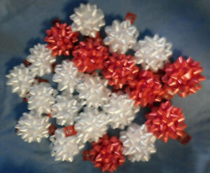 21 BEAUTIFUL NEW VINTAGE LARGE RED & WHITE  GIFT BOWS--AMERICAN GREETINGS