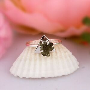 Raw Genuine Czech Moldavite Ring 925 Sterling Silver Stackable Engagement Ring