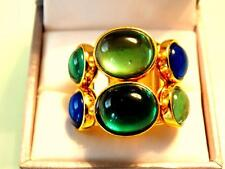 VTG TRINA TURK COUTURE GRIPOIX-STYLE HUGE EMERALD LAPIS CABOCHON COCKTAIL RING 7