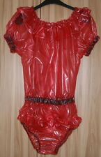 PVC Body, brevi braccia con volant rosso trasparente tg. 2xl