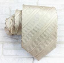 Luxury necktie men metal beige solid 100% silk Made in Italy Morgana ties