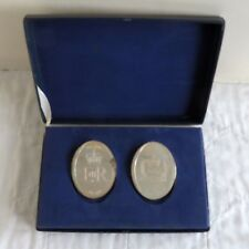 1977 SILVER JUBILEE 2 X HALLMARKED SILVER PROOF MEDAL SET - boxed