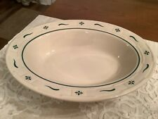 New ListingLongaberger Pottery Woven Traditions Heritage Ivory & Green Oval Serving Bowl