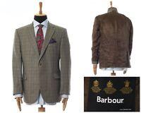 Mens BARBOUR Blazer Coat Jacket Wool Checked Beige Size 44 54