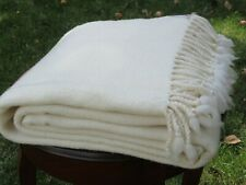 100% Merino Wool Blanket,Twill,Natural White,Soft,Twin Bed Size,Free Shipping