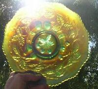 ART GLASS PLATE IRIDESCENT Fenton Carnival Glass RARE GREEN 3 Fruits