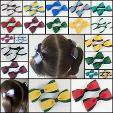 BOW PAIR SCHOOL HAIR ACCESSORIES CLIP PONYTAIL KORKER ELASTIC RIBBON NETBALL