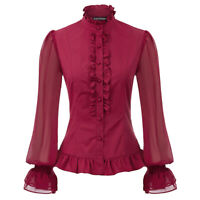 Elegant Blouse Women High Neck Steampunk Victorian Gothic Lolita Buttons Tops