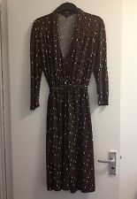 Ladies French Connection Black/Tan/White Diamond Patterned Jersey Dress -Size 16