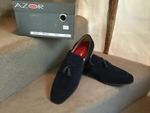 GENTS (NEW) BLUE SUEDE SLIP ON SHOES BY AZOR - SIZE 43 - NEW