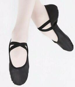 NEW Professional Leather Ballet  Dance Shoes split sole Black DTTROL