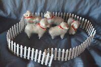 Vintage 5 Ceramic Sheep Figurines Alpaca ? Wool Fleece  Wooden Legs + Fence