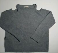 Elan Lightweight Cold Shoulder Waffle Sweater