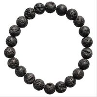 CHARGED Natural Pahoehoe Lava Crystal 8mm Stretchy Bracelet PROTECTION