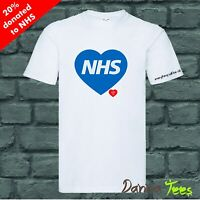 NHS Love Heart Charity Unisex T-shirt or Athletic Vest White 20% revert to NHS