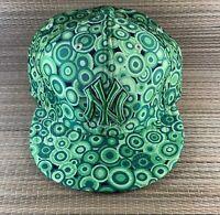 New York Yankees Hat Green MLB New Era 59fifty Fitted Baseball Cap Circles 7 1/4