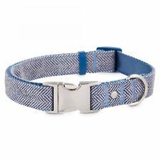 Bond & Co. Blue Herringbone Dog Collar, Small By: Bond & Co