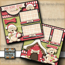 Dog Gone Christmas ~ 2 premade scrapbook pages paper piecing By Digiscrap #A0192
