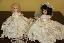 "2 Vintage 1950s Hollywood Doll Mfg Co. Hard Plastic 5"" Tall Bride Dolls"