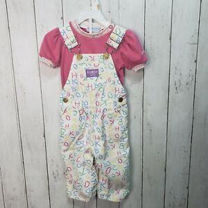 Vintage OshKosh B'Gosh Vestback Girls Alphabet Overalls & Shirt Size 18/24 Month