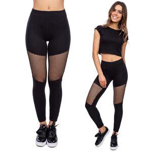 Women's High Waisted Patchwork Sports Leggings Yoga Running Mesh Pants FS205