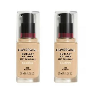 2x Covergirl Outlast All-Day Stay Fabulous Foundation, 832 Nude Beige Exp AL/21