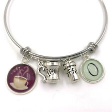 Coffee Lover Personalised Charm Bangle