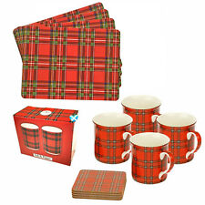 Tartan Dinner Set 4 x  PLACEMAT 4 x COASTER 4 x MUG 1 x CRUET Red Scottish Table