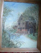 Vntg Oak Framed Oil Painting Old Mill Pond Landscape Water Wheel signed VIE Dae