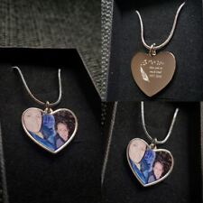 Personalised Photo printed & text engraved Heart Pendant - Birthday Gift.
