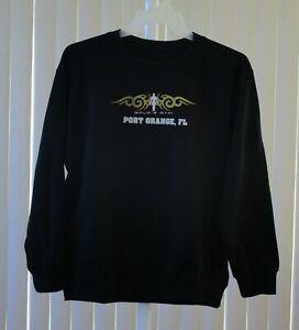 Gold's Gym Sweat Shirt Crew Neck Black Printed Size Medium