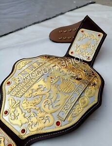 NWA Big Gold World Heavyweight Championship Leather Belt 24KT Gold Zinc 4MM