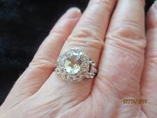 1.08 CTW AQUAMARINE RING  WITH  1.10 CTW WHITE TOPAZ ~925 STERLING ~ SZ 8