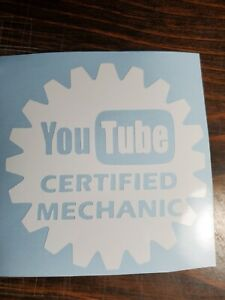 """2- 6"""" YOUTUBE CERTIFIED MECHANIC VINYL STICKERS!!! FREE AND FAST SHIPPING!!!!!"""