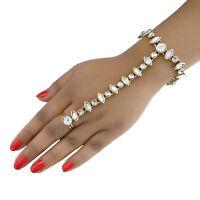 Goldtone Traditional Indian Women Finger Ring Bracelet Hand Elegant  Jewelry