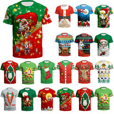 Mens Womens 3D Christmas Print T-shirt Xmas Santa Claus Short Sleeve Tops Blouse