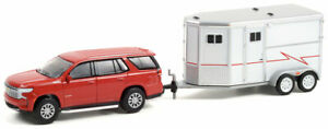 GREENLIGHT CHERRY RED 2021 CHEVY TAHOE & HORSE TRAILER [PREORDER]