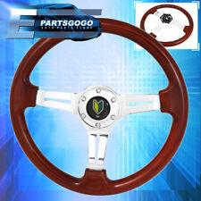 350mm 6 Bolt Hole Heavy Duty Wood Steering Wheel Trim Chrome Center Wakaba